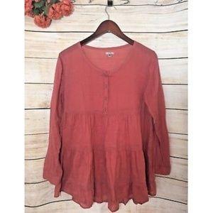 Ecoté Sheer Coral Pink Peasant Shirt Blouse Tunic
